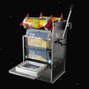 Ручной пресс Square Box упаковочная машина из нержавеющей стали Электрический Полуавтоматическая Fast Food Ready Tray запайки