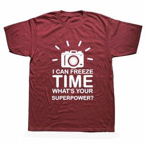 Fotografo maglietta degli uomini fotocamera fermare il tempo O-collo Fotografia T-shirt manica corta in cotone T-shirt Tee