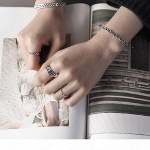 Тенденции ювелирных изделий 925 серебра ручной твердый античный серебряный снаряженная ссылка цепи классический регулировочного кольца для мужчин