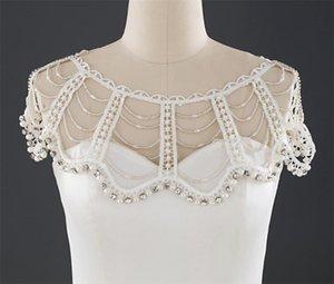 Novia de la boda del cordón del Cabo encoge de hombros para las mujeres con cuentas vestido de Cabo mantón blanco chales y abrigos para la tarde del mantón de la tarde accesorios de vestir joyería