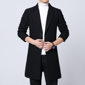 iSurvivor2020 Men's jacket black woolen men's autumn and winter jacket fashion Korean coat warm solid color