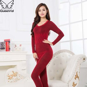 Queenral Long Johns For Women Thermal Underwear Set Second Skin Winter Female Thermal Clothing Women Body Shaped Pajamas Warm