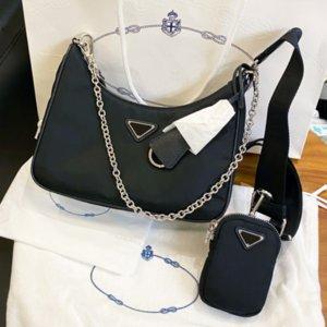2020 최고 품질의 3 종 세트 가방 여성 크로스 바디 백 재 판 2005 나일론 어깨 가방 호보 fashino 달랑 디자이너 가방 3pieces / 세트 핑크