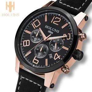 Большой циферблат кожаный ремешок кварца мужские часы моды старинные часы водонепроницаемый многофункциональные часы мужчина брендов Holuns