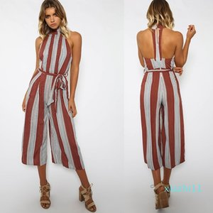 Fashion-hirigin New Summer Women Sexy Sleeveless Backless Long Jumpsuits Strap Striped Jumpsuit Casual Loose