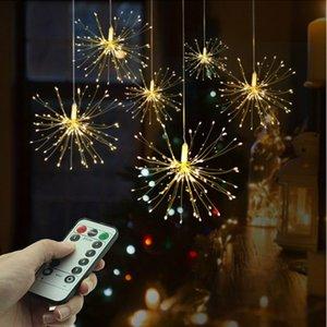 Festival Hanging Starburst-Schnur-Lichter 100-200 Leds DIY Feuerwerk Copper Fairy Garland Weihnachtsbeleuchtung im Freien Twinkle Licht