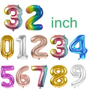 32 INCH Feliz Aniversário Weeding Celebration Decoração Gradual Circular Alumínio Revestimento Abastecimento Partido Balões números de 0 a 9 LJJP127