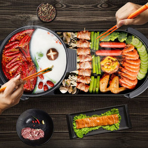 2020 Größere 2 in 1 220V Elektro Hot Pot Ofen Smokeless Barbecue-Maschine Startseite BBQ Grills Indoor Bratenfleisch Teller Teller Multi Cooker