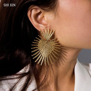 SHIXIN Punk Exaggeration Big Earrings for Women Vintage Unique Heart Designer Earrings 2020 Statement Drop Fashion Gift