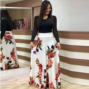 2019 popular European and American flower print color blocking long sleeve dress long short skirt women's dress plus size WGLYQ55