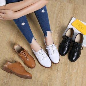 Weideng Leder Oxford Wear Resistant runder Kopf im Freien niedrige Ferse schnüren sich oben elegante Spitze bequeme Qualitäts flache Schuhe Frauen