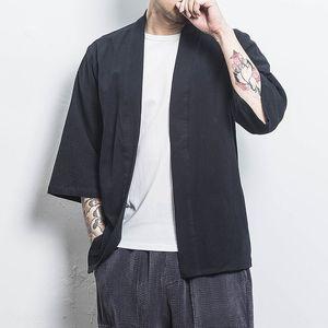 tu6WU marca chinesa estilo de moda solta algodão e linho cardigan Han verão dos homens protetor solar roupa terno de algodão de linho Tang terno Sun Protect