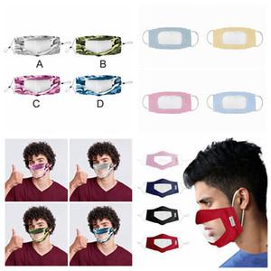 Surdo-mudo Transparente Máscara Facial Máscaras Camouflage lavável reutilizáveis Anti Poeira Antifog Earloop Limpar Máscara Designer 12styles RRA3298