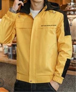 Coats Hooded Collar Long Sleeved Letter Jacket Mens Spring Autumn Contrast Color Jacket Mens Patchwork Zipper