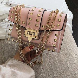 Small Clear Brand Designer Woman 2020 New Fashion Messenger Bag Shoulder Bag Female Rivets Transparent Square Pu Handbag