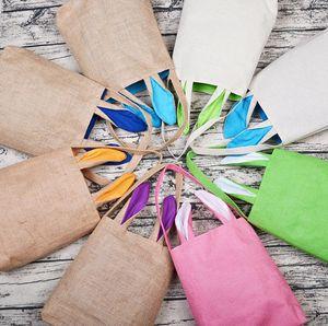 Easter Egg Hunt Bags Monogram Bunny Rabbit Ear Bag Children's Easter Gift Bag Reusable Grocery Shopping Baskets 12 Colors Optional DW4989