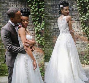 Country Wedding Dresses Spaghetti Sweep Train A Line Appliques Beads Beach Bridal Gowns vestidos de novia Plus Size robes de mariée