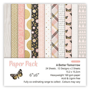 Sıcak Satış 6 İnç-DIY-Albüm-Defteri-El Hesabı-Çiçek Desen Arkaplan Kağıt Meslekler Tek taraflı Desen Kağıt 24 Pict (No.001) Yapımı