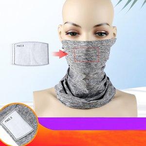 DHL Expédition transparente Bandanas Face Mask avec filtre Neckwarmer extérieur Sport Bandeau Foulard pour Pêche Sunscreen Cyclisme Course à pied L447FA