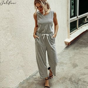 Women Jumpsuit Summer Casual Off Shoulder Gray Rompers Lady Fashion Wide Leg Waist Lace-up Jumpsuit Beach Holiday ropa de mujer