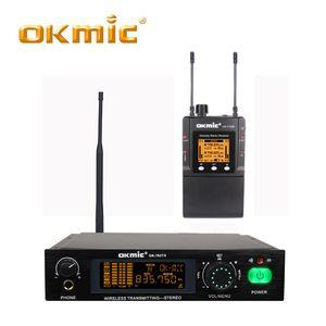 OKMIC OK-782TX + OK-7102R Professional Stage on Stereo desempenho de desktop Em Ear Monitor System, simultáneo com fone de ouvido
