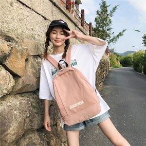 T7Ifm femme de backpackbag sac à dos coréenne stylestudent Sac Lycée ancienne simple sentiment de grande capacité de doub couleur unie
