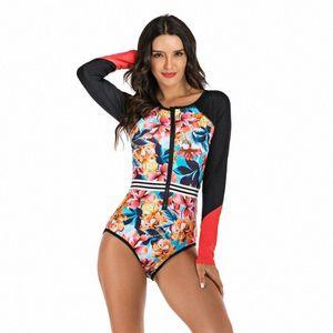 Women One Piece Swimsuits Front Zipper Print Rash Guards Beach Bodysuits Surfing Diving Swimwear Swimming Plus Size Bathing Suit MpSe#