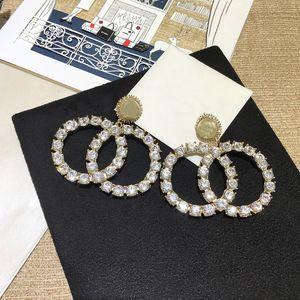 C2184 Girls stylish modern letter CZ earrings inlaid with dazzling cubic zirconia crystal eardrop earrings christmas gift