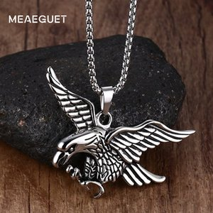 Meaeguet Punk Eagle Necklace Statement Jewelry Stainless Steel Chain Hawk Animal Charm Pendant For Men