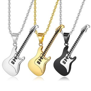 New 1 pc Gold Black Fashion Men Women Stainless Steel Rock Music Guitar Pendant Jewelry Chain Necklace colgante bijoux