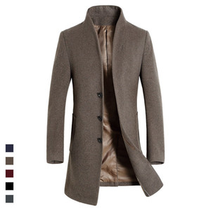 Top Quality British Slim 2020 single breasted mens long trench coat Europe trench coat jacket male