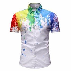 Hombres chapoteo de la tinta de impresión digital en 3D de verano sección delgada estilo de playa suelta camisa de manga corta masculina tendencia de la moda informal blusa