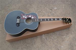 무료 배송 사용자 정의 43 인치 어쿠스틱 기타, 검은 왼쪽 손으로 기타, 중공 SJ200 기타, 단풍 나무 바디, 마호가니 목