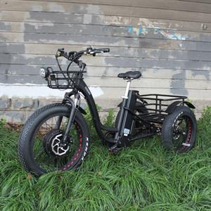 48 V 1000W elettrico a tre ruote motoslitte elettrico bicicletta a tre ruote grassi grassi ebike 20-24 pollici ruota merci elettrica ebike