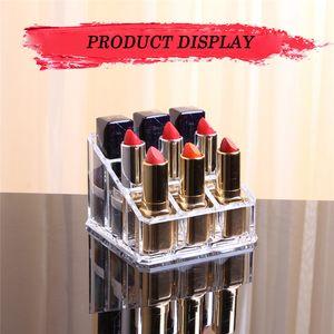 9 grid acrylic lipstick holder transparent jewelry storage box makeup box storage box holder makeup brush display stand
