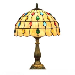 European bar restaurant bead lamp table lamp bedroom bedside online switch desk lights Retro Tiffany stained glass table lamps DS052