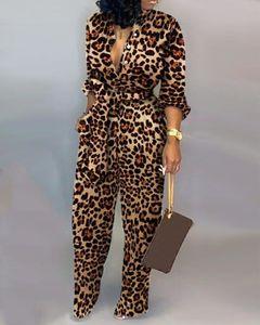 Donne sexy Pagliaccetto Leopard Leopard Tied Vita manica lunga Tuta Moda Casual Style Tuta per le donne S-XL