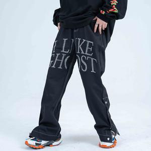 High street fibbia laterale Jeans Uomini e Donne Hot allentato casuale denim pantaloni oversize Hip Hop Jean Pants