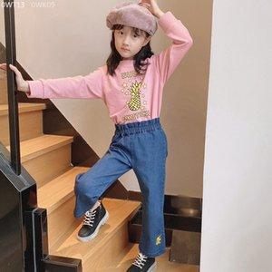 Rosa Hoodie doce do bebê meninas mangas compridas roupas de outono Crianças Denim Pants bebê meninas calças de ganga camisa Conjuntos crianças Roupa 2-14Y
