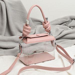 Mujeres Transparent Sling Sling Bag PVC Borrar Señoras PU Plástico PU Bolsos Tote Jelly Bag Candy Bolsas de playa Hombro Messenger Bags Damas Bolso