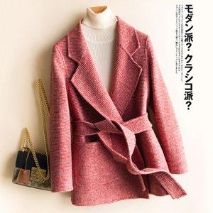 Automne et hiver Nouveau élégant manteau en laine double face à carreaux 100 pure laine manteau court de laine pour les femmes