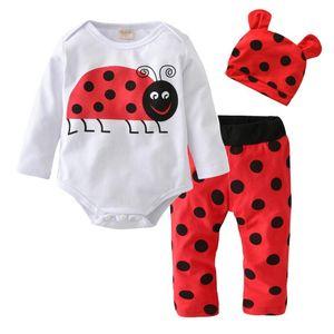 2020 Autumn style Newborn Baby Boy Girl Clothes Cotton Long Sleeve Cartoon Printing Romper+Pants+Hat Infant Clothing Set