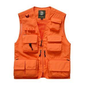 7XL Mens безопасности жилет Лето V шеи Мужчины Tactical Vest Полезность Оранжевый Открытый рукавов Охота Рыбалка Мужской спортив-
