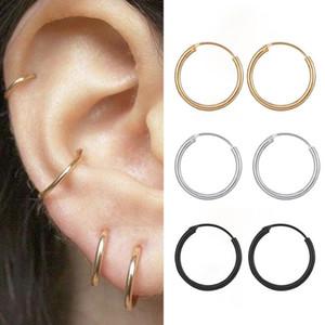 Großhandel Legierung Frauen Herren Smooth Hoop Ohrringe Schmuckkreis Hohlohrring 10mm 12mm 15mm Durchmesser Gold / Silber / Schwarze Farbe