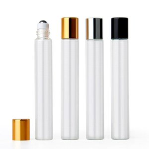 10pcs 10ml Black Gold Cap Empty Clear Glass Essential Oil   Perfume Refillable Roll On Bottle With Stainless Steel