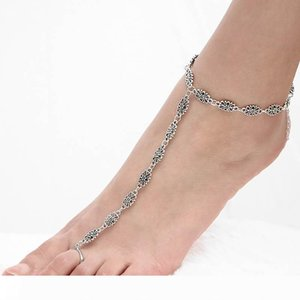 Hot Summer Vintage Ankle Bracelet Carving Flower Chain Anklet Barefoot Sandals Foot Jewelry Anklets For Women To Beach