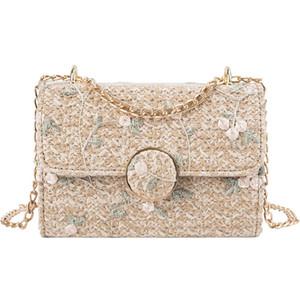 Новая волна корейской версии Wild Small Square Bag Мода соломы сумка Темперамент Простые плеча по диагонали пакета