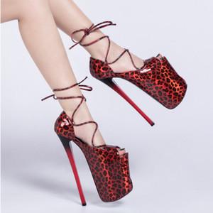 HOT Женская обувь Насосы Drag CD Супер Высокий каблук 22см Stilettos Peep Toe Водонепроницаемая платформа Модель T Stage Показать Свадебная обувь