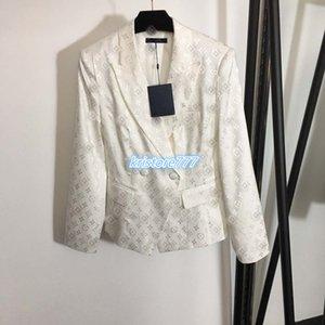 2020 Women's Girls Vintage Jacket Runway Lapel Neck Shirts Tops Blazer Coats With Mongram Letters Pattern Female Jersey Long Sleeve Outwear
