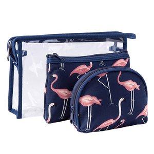Wholesale Cosmetic Storage Bag Suit 3-Piece Set Flamingo pattern Portable Ladies Waterproof Transparent PVC Wash Bag Travel Package Hotel